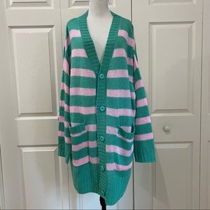 LuLaRoe Lucille Striped Button Down Sweater NWT